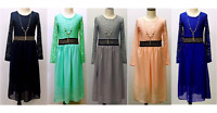 New Girls Maxi Dress Kids Lace Work Muslim Holiday Abaya Islamic Top 7 - 13 Y