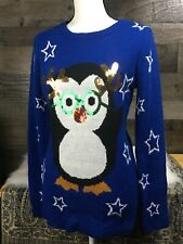 Sweater Women's Penguin With Antlers Holiday Winter Size Large