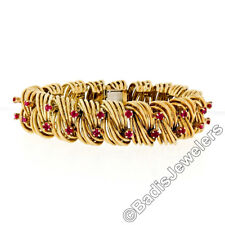 Vintage Handmade TIFFANY & CO. 18k Gold Wire 3.6ctw Fine Ruby Statement Bracelet