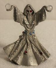 Vintage 1989 Masterworks Pewter Wizard Warlock Crystal Orbs Red White Rhinestone