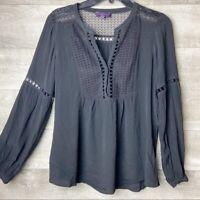 Hale bob women's lace cutout flowy boho black v-neck long sleeve blouse size: XS