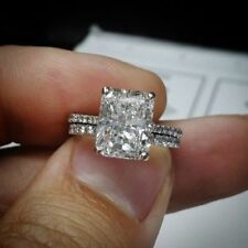 Certified 3.00ct Radiant White Diamond Engagement Ring in Real 14K White Gold