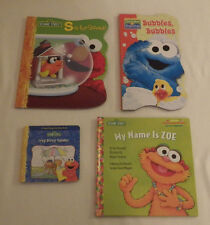Lot of 4 Books Sesame Street Itsy Bitsy Spider Bubbles Name is Zoe S School Book