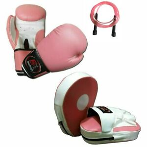Pink Ladies Focus pads and Boxing Gloves set Hook & Jab kick boxing with Rope