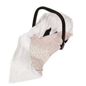 Cotton & Soft Plush Baby Car Seat Wrap / Blanket - little pink flowers + white
