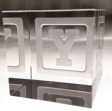 New STEUBEN Glass BABY BLOCK LETTER Y | rare collectible crystal paperweight