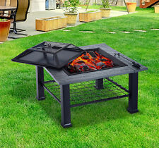 Patio Fire Pit BBQ Grill Cooking Grate Stove Cover Heater Fireplace Yard Outdoor