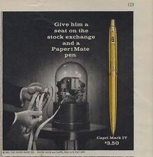 1962 Papermate PRINT AD Capri Mark IV features ticker tape stock machine
