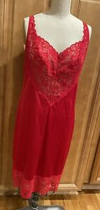 Vintage 1960's Vanity Fair Nylon Full Slip Red Lace USA Made Pin Up