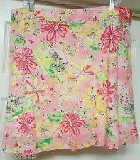 George Woman's Pink/Green/Yellow/Black/White Floral Design Skirt Size 16
