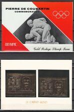 Ras Al Khaima, Mi cat. 296 A-B. Coubertin Olympic. P & I Gold Foils in Folder.