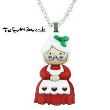 TFB - MRS CLAUS SANTA PENDANT NECKLACE Christmas Quirky Funky Fun Party Retro