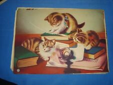 Old Vintage Paper Color Print Of Kittens Playing with Books from India 1950