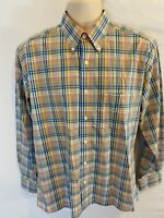 Bills Khakis Mens Medium M Plaid Long Sleeve Button Front Shirt Yellow Blue