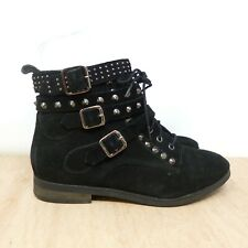 OFFICE Black Suede Spike Studded Strap Low Heel Western Ankle Boots SZ UK 4 37