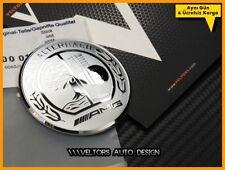 57mm Car Steering Wheel AMG Logo Emblem Badge For Mercedes Benz Silver