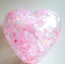 Heart shaped confetti Balloon 3 x 15cm mini clear Baby Pink valentines day