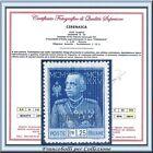 1926 Colonie Italiane Cirenaica Giubileo L. 1,25 dent. 13 ½ n. 26 Certificato **