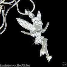 w Swarovski Crystal ~Clear Tinkerbell~ Fairy PIXIE ANGEL Charm Necklace Jewelry