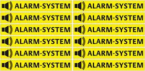 1021 - 12x Aufkleber Alarmsystem Alarmanlage Alarm gesichert Sicherheit