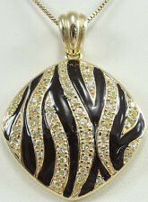 Sterling Silver Vermeil Black Enamel Pendant Box Chain Necklace Zebra Square 18""
