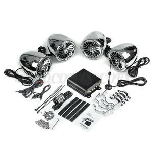 1000W Amp bluetooth Motorcycle Stereo 4-Speaker Audio System ATV UTV Sliver US