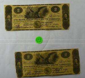Lot of 2 1862 Bank of South Carolina Civil War $2 Banknotes - NO RESERVE - EH8