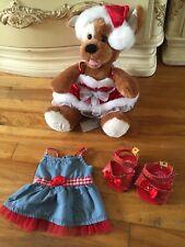 Build  A Bear Plush Dog Christmas Santa Red Dress & Hat Sparkle Shoes
