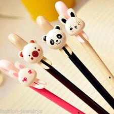 2pcs Cute Animal 0.5 Black Gel Ink Pen Rabbit Panda Bear Cartoon Office Supplies
