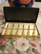 Vintage Janis Collection 24K Gold Plated Hor D'oeuvres Forks Pineapple in Box