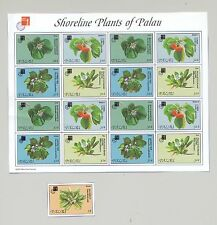 Palau #415, #420 Plants, Flowers 1v Imperf & 4v in Sheet of 4 Blocks of 4 Proofs