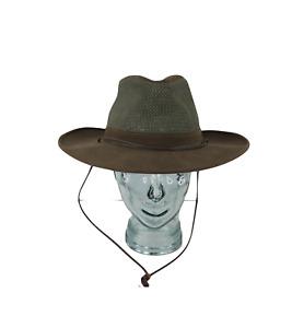 Vintage 90s Canvas Mesh Outdoor Safari Bush Hat Cap Olive Green Medium USA