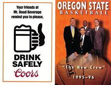 1995-96 OREGON STATE BEAVERS BASKETBALL POCKET SCHEDULE - UNFOLDED