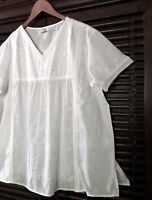 1X 2X 3X White Embroidered Cotton Top V-Neck Blouse Crochet S/S