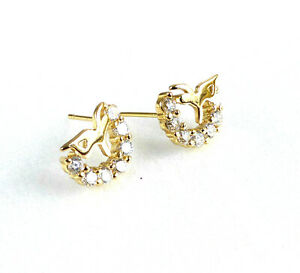Lady Girl 14K Yellow Gold Plated Clear CZ Sparkling Crystal Studs Earrings UK