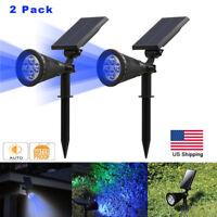 2PACK Solar Power Spot Light Outdoor Pathway Garden Landscape LED Lamp Blue US