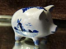 Vintage Hand Painted Blue Delft Piggy Bank