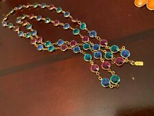 """SWAROVSKI Channel Faceted Multi-Colored Crystal Necklace 36"""" Gold Long Chain"""