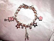womens 8in  crystal eiffel tower pink ace spades stars bracelet 10k gold plated