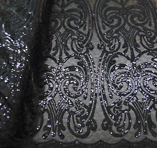 Sequin BLACK Damask Mesh Polyester Lace Large Print Fancy angel dress fabric