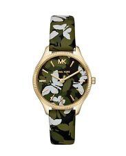 Michael Kors MK2811 Lexington Three-Hand Green Floral Printed Leather 36mm Watch