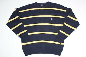 Nauica 90s vintage striped yellow and navy jumper, Size XL