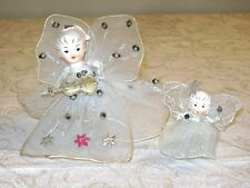 2 Vintage Christmas ANGEL Ornaments Wired Organza Dress & Wings Chenille Arms