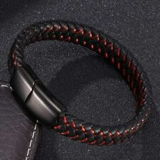 Fashion Braided  Leather Bracelet Men Stainless Steel Magnetic Clasp Charm