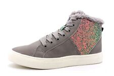 H&M Older Girls UK 1.5 EU 34 Grey Faux Leather Glitter Mid Trainers Sneakers NEW