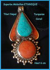 Grand PENDENTIF Médaille ETHNIQUE Argenté CORAIL & TURQUOISE Artisanat TIBETAIN