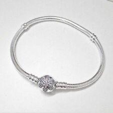 100% 925 Sterling Silver Snake Chain Rhinestone Snowflake Clip European Bracelet