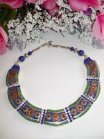 LAPIS LAZULI, TURQUOISE, & CORAL HANDMADE 925 STERLING SILVER NECKLACE-18 INCH