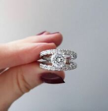 Shank Engagement Ring 925 Sterling Silver 2Ct White Forever Round Moissanite 2
