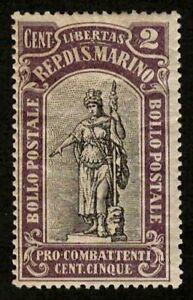 San Marino 1918 Sc#B3 - 2c Statue of Liberty Semi-Postal Mint MHR